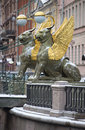 Griffins on the Bank bridge. Saint-Petersburg Royalty Free Stock Photo