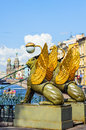 Griffons on the Bank bridge, St Petersburg Royalty Free Stock Photo