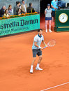 Grigor dimitrov at the atp mutua open madrid playing against novak djokovic th may Royalty Free Stock Photography