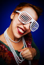 Gril with shutter shades Royalty Free Stock Photo