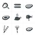 Grill and barbecue related icons set