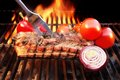 Grill Barbecue Ribs Flames Brisket Charcoal, XXXL Royalty Free Stock Photo