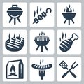 Grill and barbeque related vector icons set Stock Image