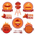 Grill and bbq set of colored symbols labels Stock Image