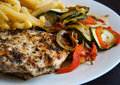 Grill chicken breast with vegetables Royalty Free Stock Photo