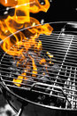 Grill fire black and white orange Royalty Free Stock Photos