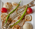 Grill fish with tomato onion and lemon Royalty Free Stock Photography