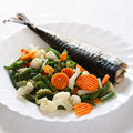 Grill Fish with Vegetables Royalty Free Stock Photo