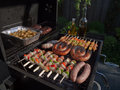 Grill food grilling on the bbq on a summer day boerewors skewers shashliks sausages herbs and vegetables Royalty Free Stock Image