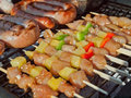 Grill food grilling on the bbq on a summer day boerewors skewers shashliks sausages herbs and vegetables Royalty Free Stock Photography