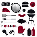 Grill icons illustration of different isolated barbecue Royalty Free Stock Photos