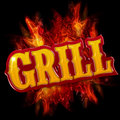 Grill label with flames on black background Royalty Free Stock Photo
