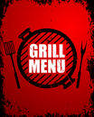 Grill menu design template illustration of a on a red grunge background Royalty Free Stock Photos