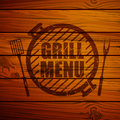 Grill menu design template illustration of a on a wooden background Royalty Free Stock Photos