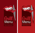 Grill menu with a mouth eating meat Royalty Free Stock Photo