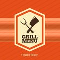 Grill menu over orange background vector illustration Stock Photos