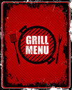 Grill menu sign illustration of a vintage Stock Image