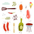 Grill party cute cartoon set Royalty Free Stock Images