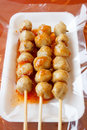 Grill pork ball with spicy and sweet sauce thai style Stock Photography