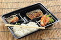 Grill saba fish with steam rice in set box japanese food Royalty Free Stock Image