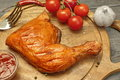 Grilled BBQ Chicken Leg Quarter On Wood Board, Top View Royalty Free Stock Photo