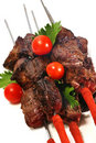 Grilled beef meat on skewer Royalty Free Stock Photos