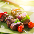 Grilled beef shishkabobs on green plate shot with selective focus Stock Image