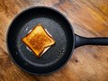 Grilled cheese sandwich photo of a cooking in a large frying pan Stock Images