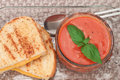 Grilled cheese and tomato soup Royalty Free Stock Photos