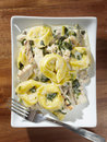 Grilled chicken asiago tortellini overhead shot Royalty Free Stock Photos