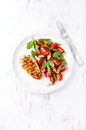 Grilled Chicken Breast with Asparagus and Cherry Tomato Salad with Herbs and Chia Seeds Royalty Free Stock Photo