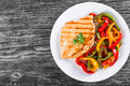 Grilled Chicken breast fillet and fried bell pepper , top view Royalty Free Stock Photo