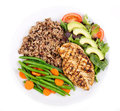 Grilled chicken breast with green beans salad and wild rice Royalty Free Stock Photos