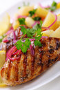 Grilled chicken breast with potato salad Stock Photo