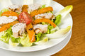 Grilled Chicken Breast Salad with Endive Stock Photo