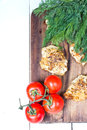 Grilled chicken breasts fillet with fresh vegetables and herbs Royalty Free Stock Photo