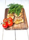 Grilled chicken breasts fillet with vegetables fresh Royalty Free Stock Image