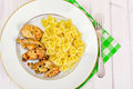 Grilled Chicken Fillet with Pasta Bows Royalty Free Stock Photo