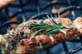Grilled chicken fillets on a grill with spice and herbs. Marinated chicken breast on flaming grill with vegetables. Healthy food. Royalty Free Stock Photo