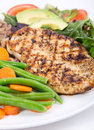 Grilled chicken with green beans breast salad and wild rice Stock Image