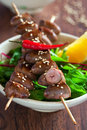 Grilled chicken hearts Royalty Free Stock Photography