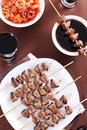 Grilled chicken hearts on skewers Royalty Free Stock Image