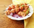 Grilled chicken kabob on a skewer Royalty Free Stock Photo