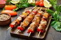 Grilled chicken kebabs Royalty Free Stock Photo