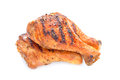 Grilled chicken leg white background Stock Image