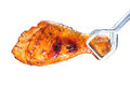 Grilled chicken leg on white background Royalty Free Stock Images