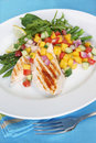 Grilled Chicken with Mango Salsa Royalty Free Stock Image