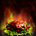 Grilled chicken over salad Royalty Free Stock Photo