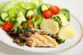 Grilled chicken plate Royalty Free Stock Images
