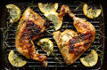 Grilled chicken with rosemary and lemon Royalty Free Stock Photo